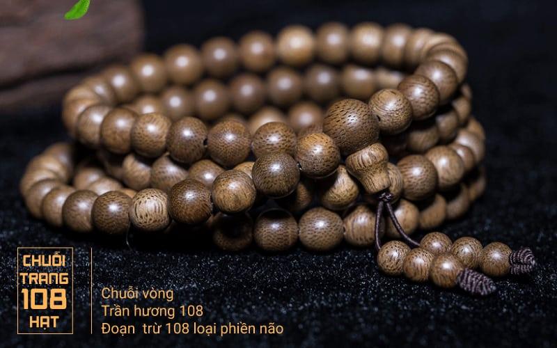 Vòng tay Trầm Hương Lào Xám 108 Hạt
