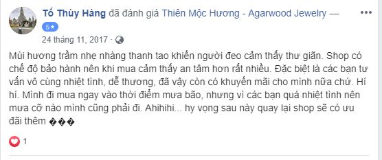 vòng tay Trầm Hương Chìm Thiên Mộc Hương feedback