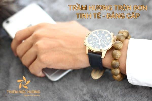 Vòng tay Trầm Hương Tròn Đơn Nam