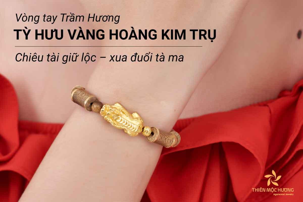 Vòng Tay Trầm Hương Tỳ Hưu Vàng Hoàng Kim Trụ