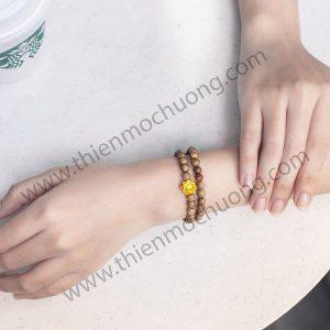 Vòng tay trầm hương hoa Sen Vàng trầm Lào