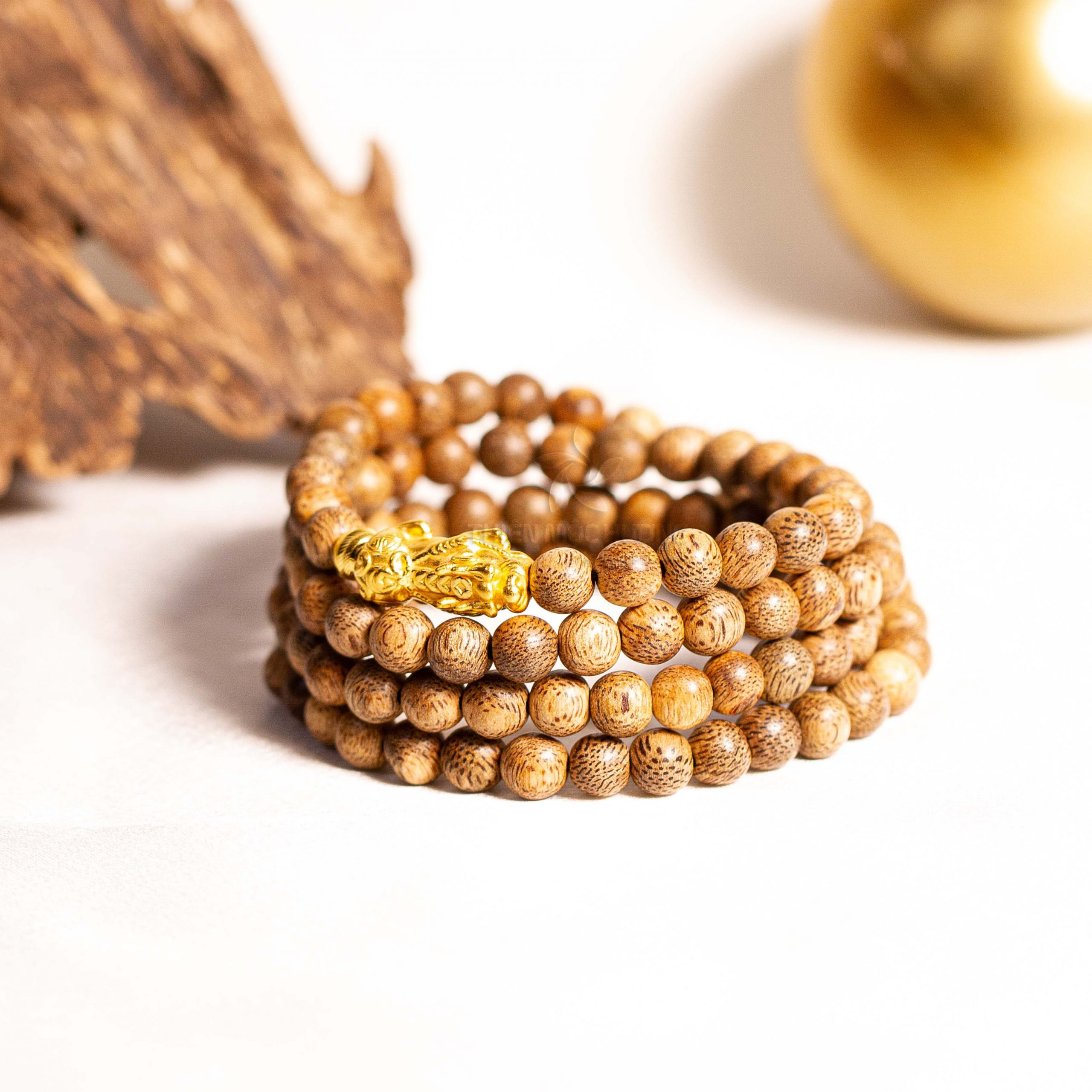 Vòng tay 108 hạt tỳ hưu vàng