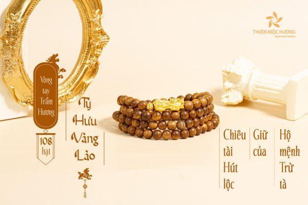 Vòng tay trầm hương 108 Tỳ Hưu vàng lào