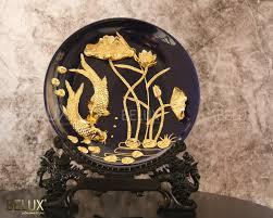 Vật phẩm phong thủy - Đĩa cá chép hoa sen dát vàng