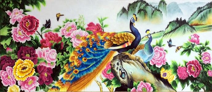 Tranh đôi chim công hoa mẫu đơn - Quà tặng tân gia phong thủy