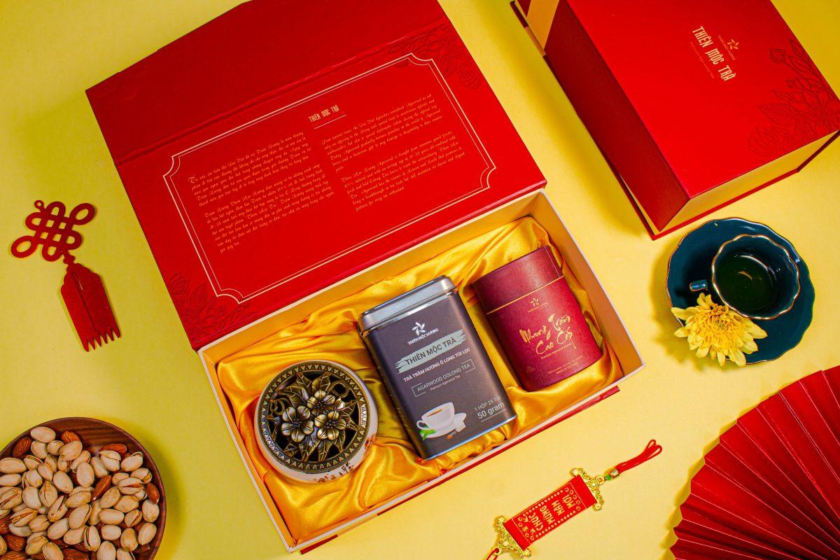 Trà Trầm Hương Thiên Mộc Trà - hộp quà tết cao cấp