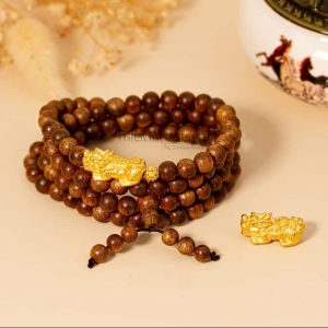 Vòng tay trầm hương 108 Tỳ Hưu vàng